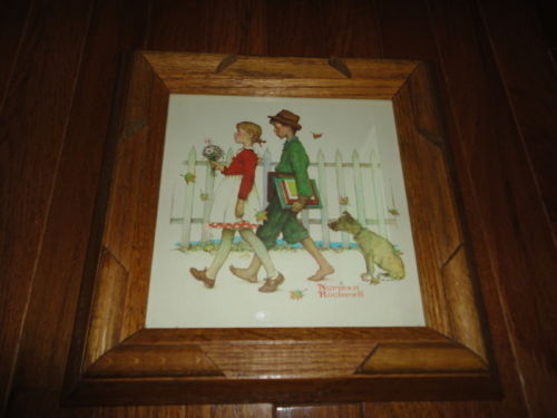 Artist Norman Rockwell SCHOLARLY PACE Girl Boy Dog Art Print Solid Oak Frame