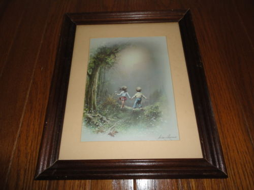 Usa / Chilean Artist Andres Orpinas Children Forest Meadow Picture Print Framed