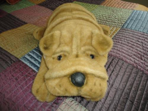 Sears Canada Large SHAR PEI Laying Plush DOG 28 inch Airbrush Details