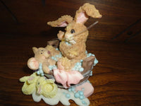 Baby Rabbit and Mouse in Bubble Bath w Bunny Slippers Porcelain Figurine