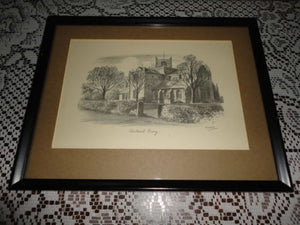 Original Art UK Artist JUDGES Pencil Sketch Cartmel Priory Cumbria Framed