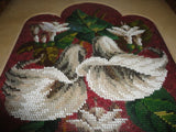 Original Beaded Tapestry Art  LILIES BOUQUET Antique Wood Frame & Glass 1978