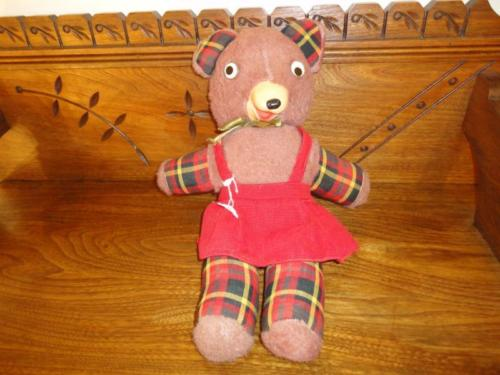 Antique 1950s Gund Bear Rubber Snout Funny Smirk Google Eyes 16 inch