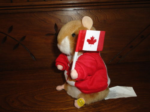 Gemmy Canadian National Anthem DANCING MUSICAL HAMSTER Battery Op 6 inch