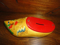 Vintage Coin Bank Tin Metal Pine Wood Clog Holland Handpainted w Hanger
