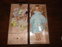 Vintage Wooden Leather Doll Case w Porcelain Doll 2 Dresses Umbrella Purse 12 in