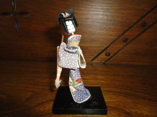 Antique Made in Japan Geisha Girl Lady Miniature Doll Statue 4 inch on Wood Base