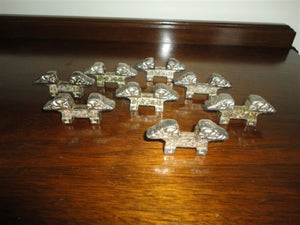 Antique Chinese Marking Metal Chopstick Rests Holders Lot of 8 from Asian Estate