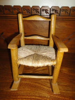 Vintage Wooden Rattan Rocking Chair Doll or Bear Handmade