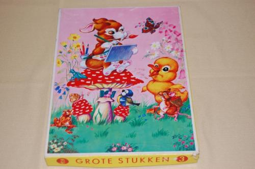 Antique 50s Tom Tas Wooden Jig Saw Puzzle Bunny on Mushroom Painting Butterfly