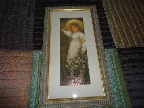 Little Girl Standing Flower Bouquet Textured Artwork Antique Framed