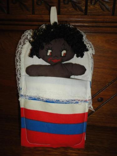 Vintage African Black Baby Doll in Bed Sleeping / Awake Two Sided Face