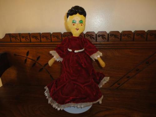 Antique Vintage OOAK Painted Cloth Doll Handmade Stuffed Cotton Velvet Lace Gown