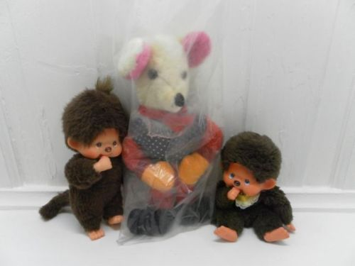 Vintage 2 Monchichi with Pacifiers & German Wool Mouse Mint in Bag