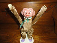 Antique Tin Toy Key Wind Up Tumbling Monkey Silk Plush Metal