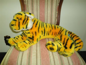 Antique 1978 Dakin Large Laying Tiger 24 inch Stuffed Ground Nutshell Airbrushed