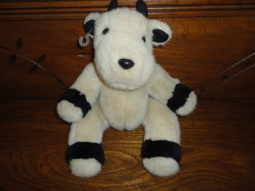 Ganz Heritage 1991 COW Stuffed Toy Fully Jointed Beige & Black 12 inch Retired