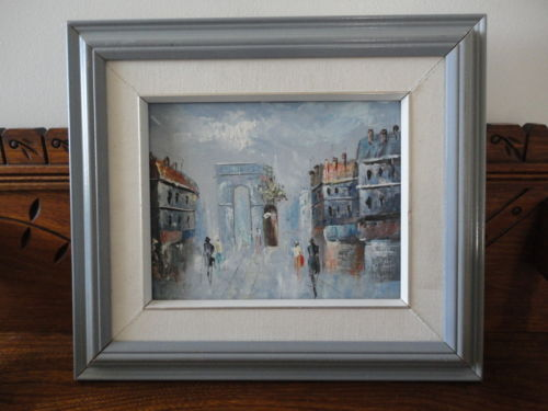 Framed Original Oil Art on Canvas Artist Painting Cityscape People Architecture