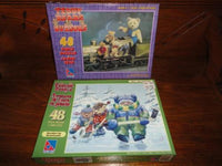 Steiff Bears on Train & Teddys on Ice Playing Hockey 2 Puzzle Lot Sure-Lox