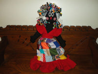 Handmade Cloth Black Doll Patchwork Quilt Dress & Braids 15 inch