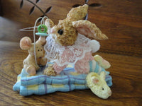 Baby Bunny Rabbit & Mouse w Pacifier on Quilt Porcelain Figurine Hand Painted