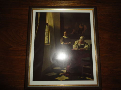 Artist Jan Vermeer van Delft Lady Writing a Letter with Her Maid Swiss Framed