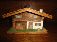 Antique Scheibner Austria Musical Reuge Wind Up Wooden House Box Brahms Lullaby