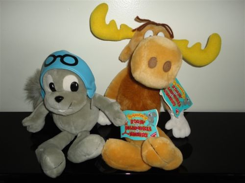 Dakin ROCKY & BULLWINKLE Set 2 Stuffed Toys 1994 All Original Tags Hand Crafted