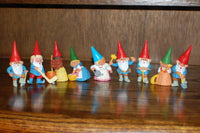 David The Gnome Set of 9 Working Gnomes & Hockey Player Rubber Toy Figures