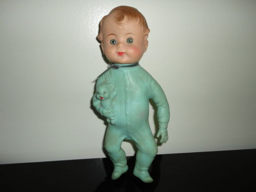 Antique Green Rubber Squeaker Baby Boy Doll Reliable Toy Canada Glass Eyes 10in.