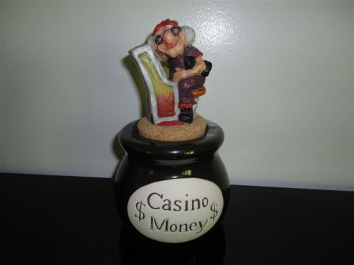 Vintage Casino Money Bank Jar Funny Old Woman at Slot Machine Cork Stopper