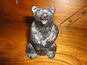 "Canadian Crafted Alberta Real Black COAL BEAR Figurine 3.75"" Laughing Carved"