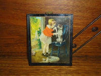 Antique 1930's British Empire Made Mini Art Print Girl Nursing Dog Wood & Metal