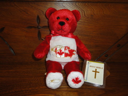 "Holy Bears 2001 GOD BLESS CANADA Bear 9"" with Mint Bible Booklet RETIRED"
