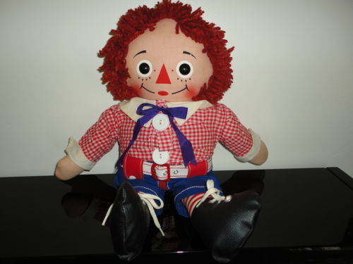Vintage RAGGEDY ANN Stuffed Doll ANDY Made for Canadian Market 19 inch RARE