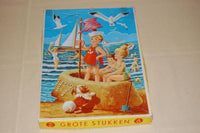 Antique 1950s Tom Tas Wooden JigSaw Puzzle Children at Beach 35 Pcs
