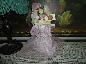 Fairy Cloth Doll Handpainted Face Holding Bunny NEW w Tags Seasons Collections