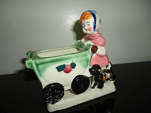 Little Girl Pushing Baby Carriage & Dog Figurine Planter Vintage Made in Japan