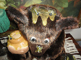 Artist Designed JUMBO Brown BEAR with BEES & HONEY POT Rare OOAK Faux Mink 16""
