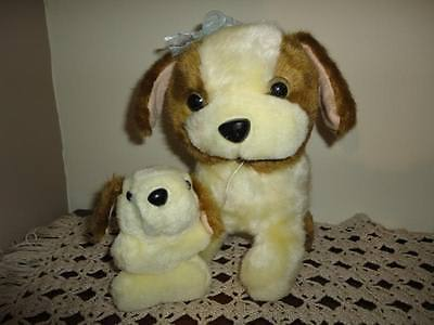 Vintage Saint Bernard Mother Dog with Puppy Stuffed Plush RARE