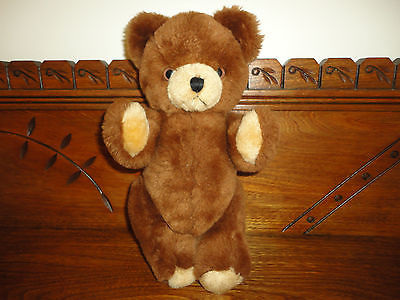 Antique Gund Brown Teddy Bear Fully Jointed 12 inch Solid Stuffed w Tag 1979