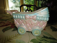 Vintage RUBENS Made Japan Baby Buggy Carriage Porcelain Planter Ornament 642