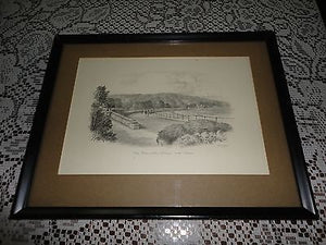 Original Art UK Artist JUDGES Pencil Sketch Promenade Grange Over Sands Framed