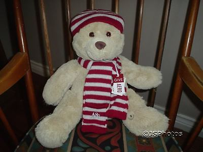 Aeropostale A87 Original Teddy Bear 14 Inch Red White Striped Scarf Hat Gorgeous