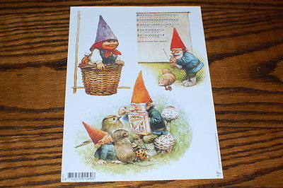 David The Gnome Rien Poortvliet 7 Different Decoupage Paper Cut Sheet You Choose