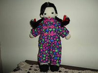 Asian Girl Doll Handmade Knitted Braided Hair Chinese Flower Outfit 13 Inch Tall