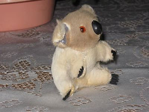 Antique Old 60s Brown Beige Koala Bear Real Fur