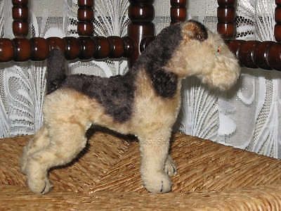 Antique Steiff Terry Airedale Terrier 1322,0 Mohair Working Squeaker 1950 1957