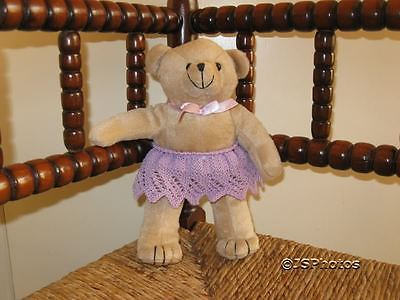 Brown UK Bear With Purple Hand Knitted Skirt