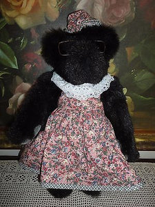 Vermont Teddy Bear BLACK Furry Long Plush 16in.Handcrafted RETIRED 1994 Made USA
